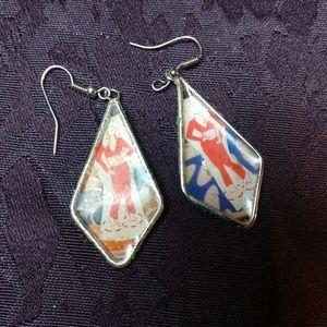 Handmade Belly dance dangle earrings OOAK